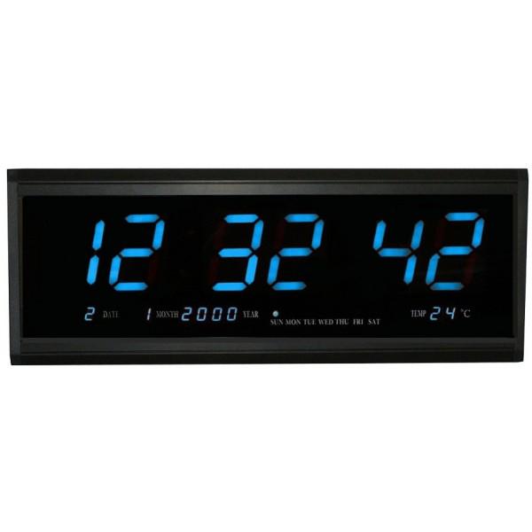 Ceas de perete digital cu afisaj mare (albastru) - www.lutek.ro
