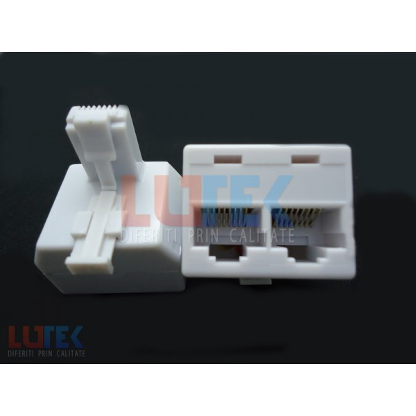 Adaptor 8P8C tata 2x8P8C mama (ADT22) - www.lutek.ro